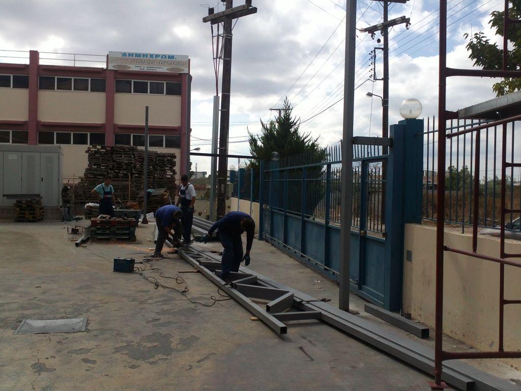 Καλυψη υπαιθριου χωρου 400 m2 για κατασκευη αποθηκης  Σταδιο εργασιων 1ο