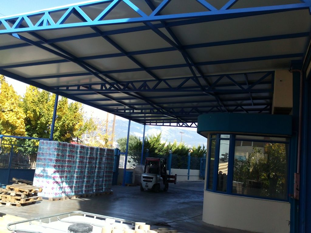 Καλυψη υπαιθριου χωρου 400 m2 για κατασκευη αποθηκης  Ολοκληρωση εργου